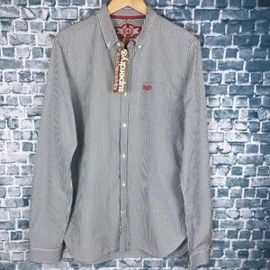 Superdry Mens Grey Striped Button Down Slim Fit